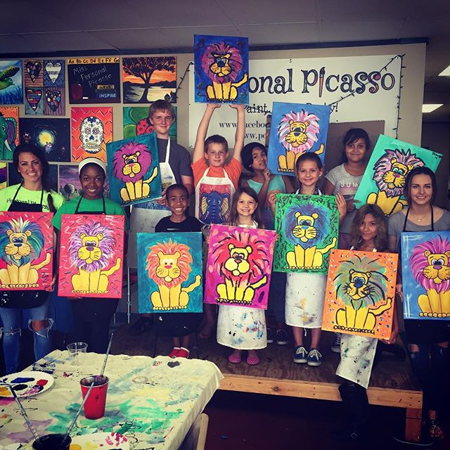 #KidsCamp - last Friday's edition!  Check out those #funky #lions!  #squadgoals #littleartists #personalpicasso #sanmarcos #sanmarvelous #paintandsip #txst #artsyfartsy