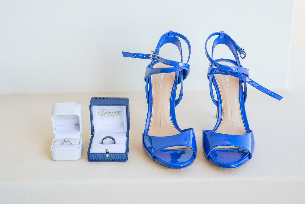 Wedding details, blue rings with the wedding rings