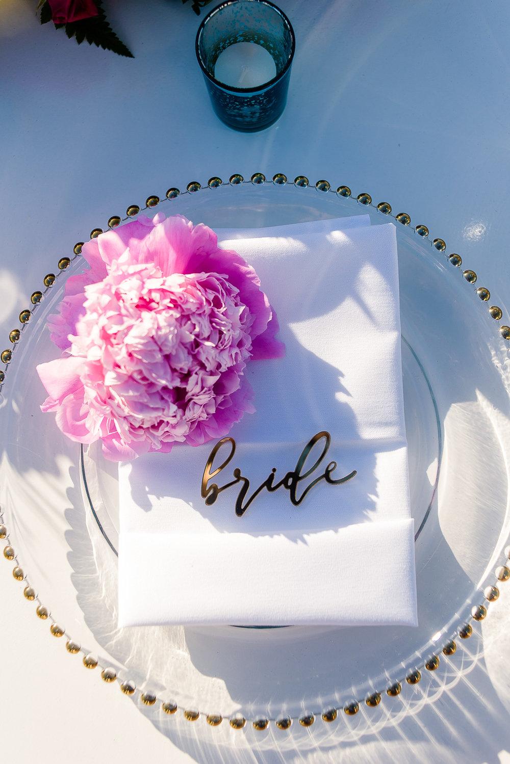 Wedding decor details, bride sign