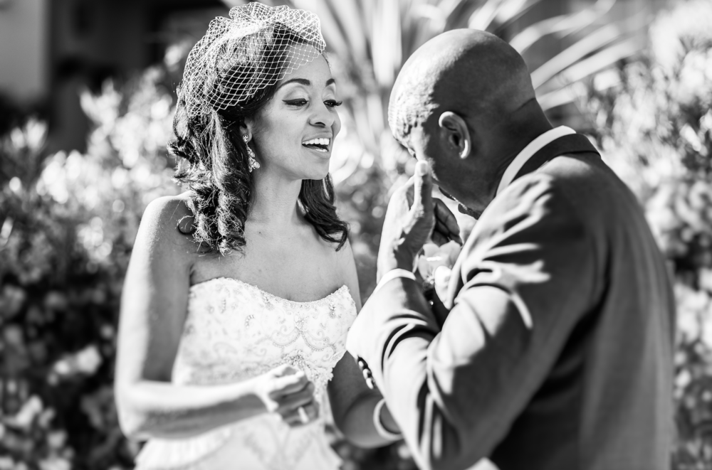 Bride and Groom during their first look session before their wedding ceremony with professional wedding photographer Gvphotographer. Acre wedding Venue. Acre weddings Groom is crying during this emotive moment