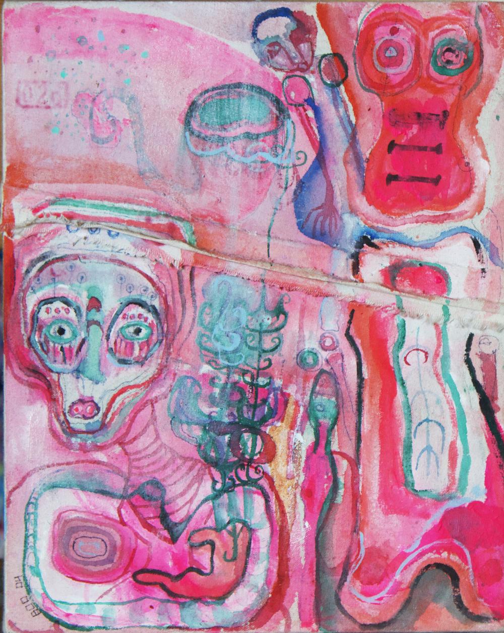 "mini #1, mixed media on canvas, 10x8"", 2004"