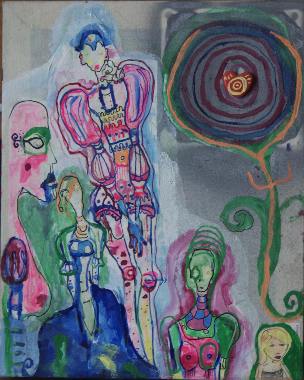 "mini #2, mixed media on canvas, 10x8"", 2004"