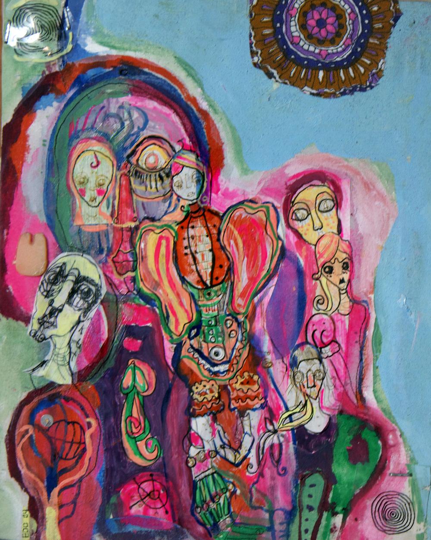 "mini #3, 10x8"", mixed media on canvas, 2004"