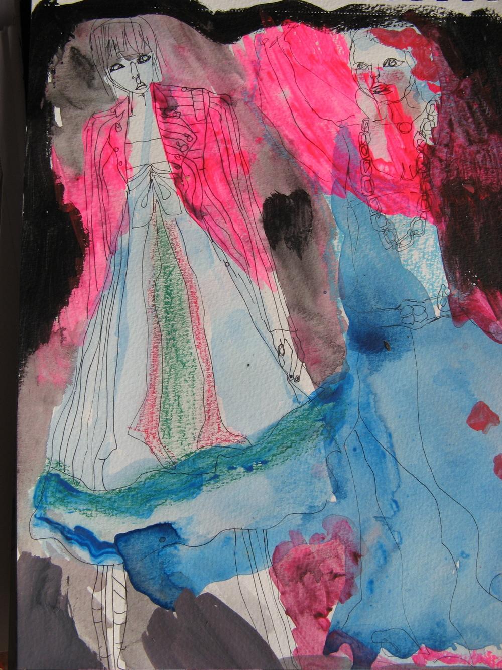 "Fashion Violation #2, mixed media on glass frame, 14x12"", 2005-8"