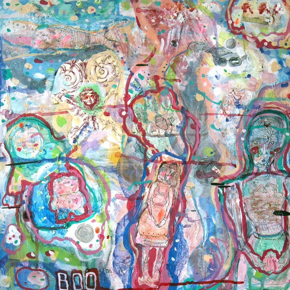 "Fancy Feet, mixed media on canvas, 18x18"", 2008"