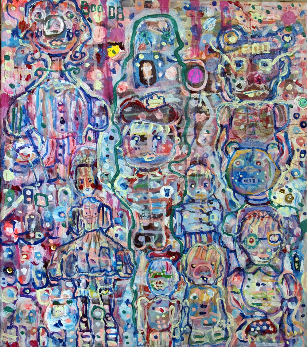 """History Munchkins, mixed media on canvas, 18x16"""", 2008"""