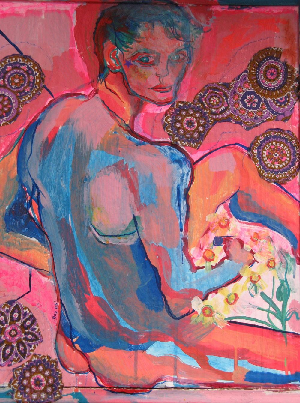 """Slavic Boy/Daisy Picker, mixed media, 18x14"""", 2006 (sold)"""
