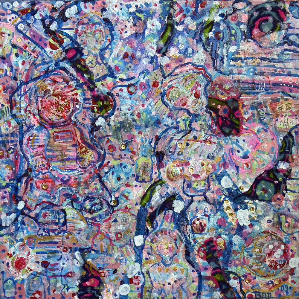 "Future Munchkins, mixed media, 16x16"", 2009 (sold)"