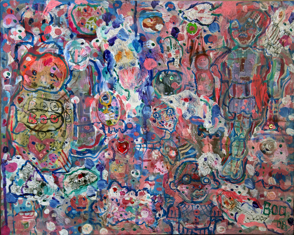 "Modern Munchkins(tm?), mixed media on canvas, 16x20"", 2008"