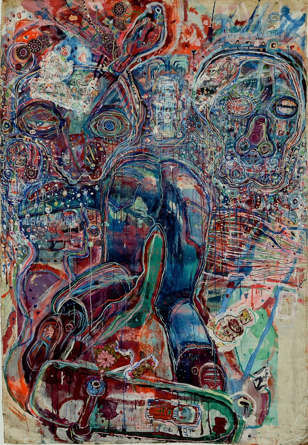 Skaterdater, mixed media on canvas, 5ft x 6ft, 2007