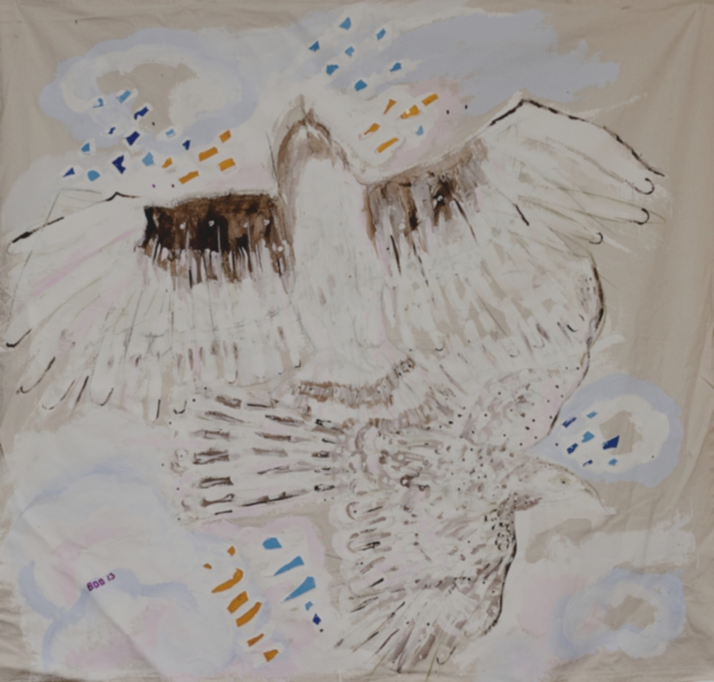 Airport Hawks(unfinished?), mixed media, 5ft x 5ft, 2013
