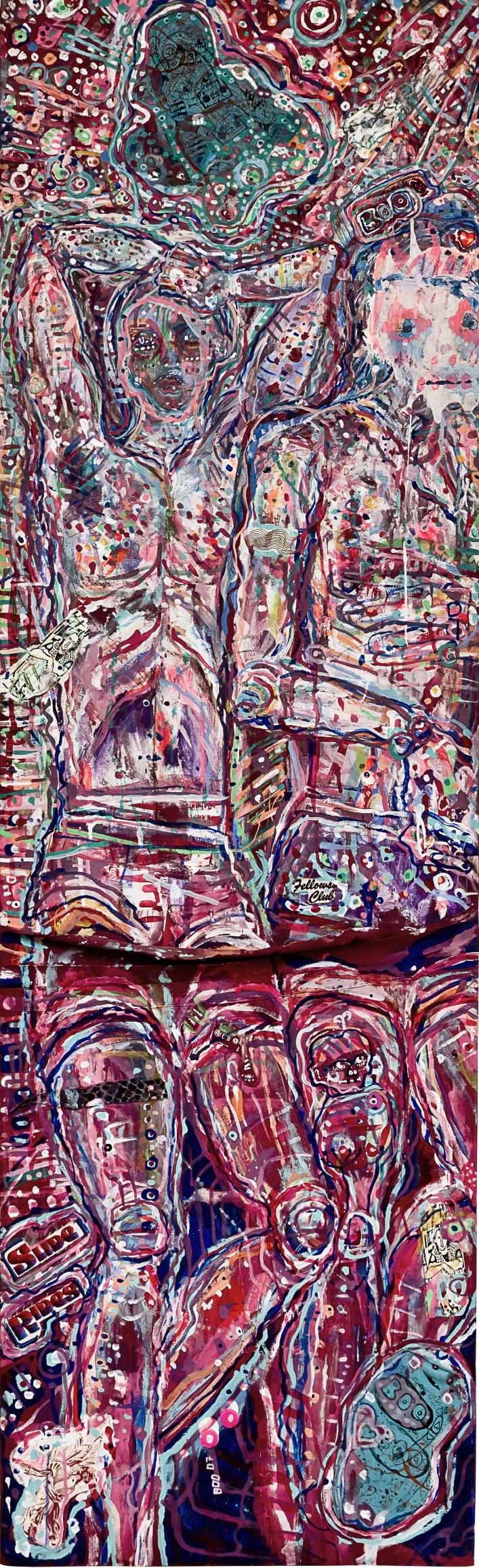 """BedFellows, mixed media on canvas,61x19"""", 2007"""