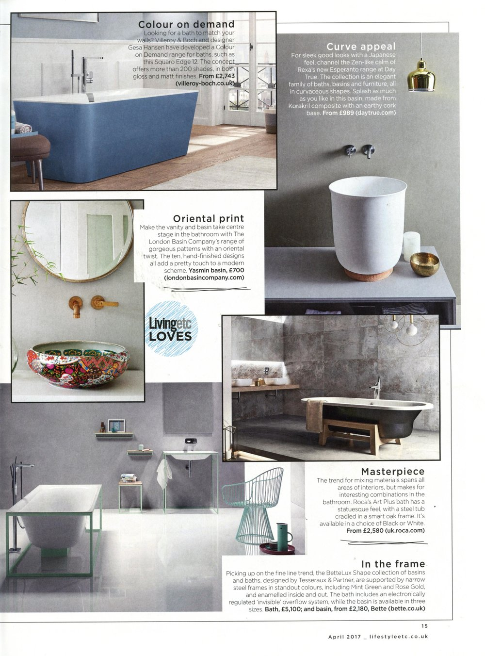 LIVING ETC 'BATHROOM ETC' SUPPLEMENT APRIL 2017