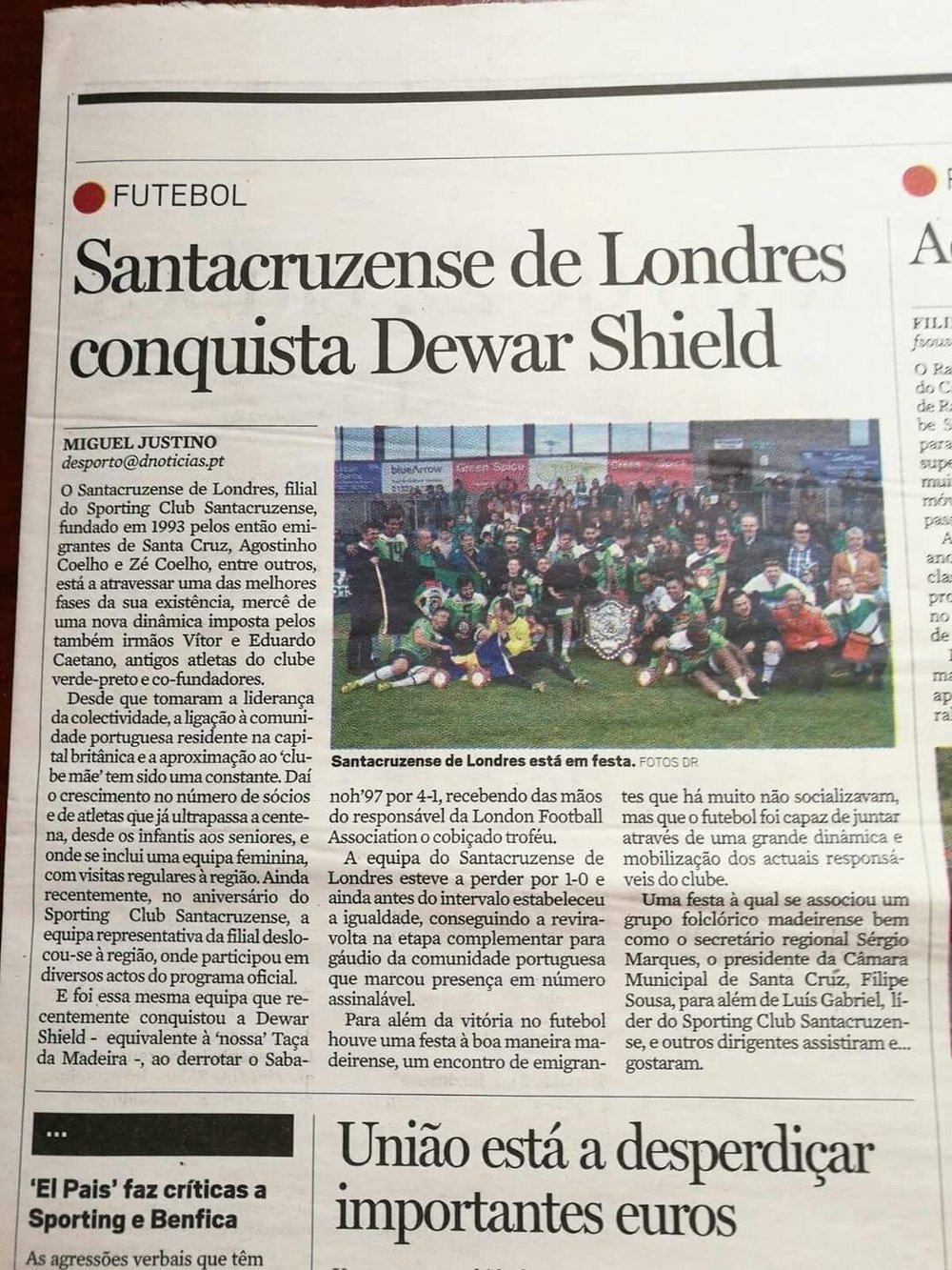 Portuguese Newspaper reports on Santacruzense's victory over Sabanoh to lift the Dewar Shield