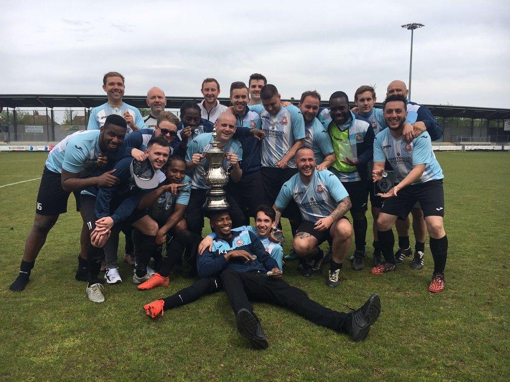 Kent Wanderers celebrate their Cup Winning achievement
