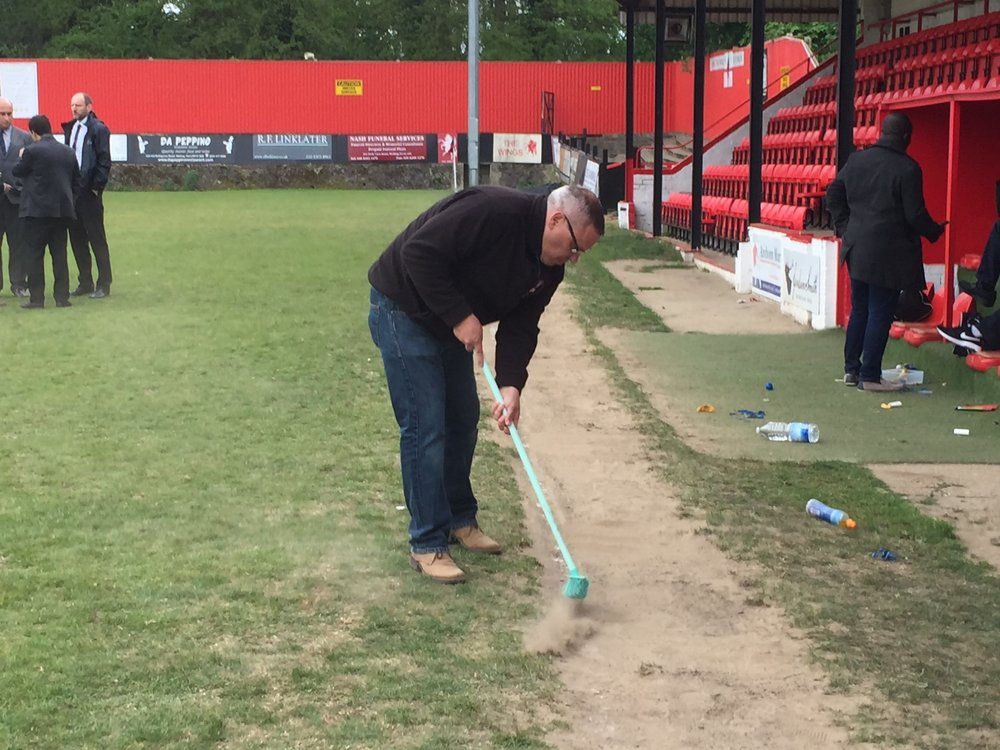 League Chairman Dave Fone works on his new sweeper role between matches