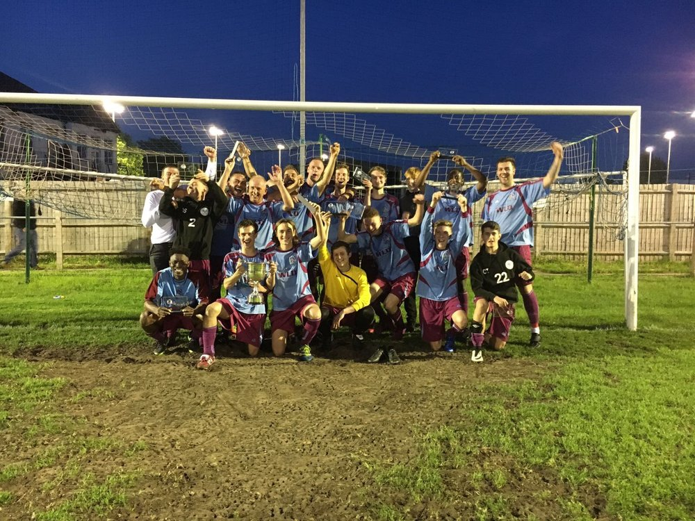 Springhill United Reserves celebrate their victory in the Leader Trophy Final