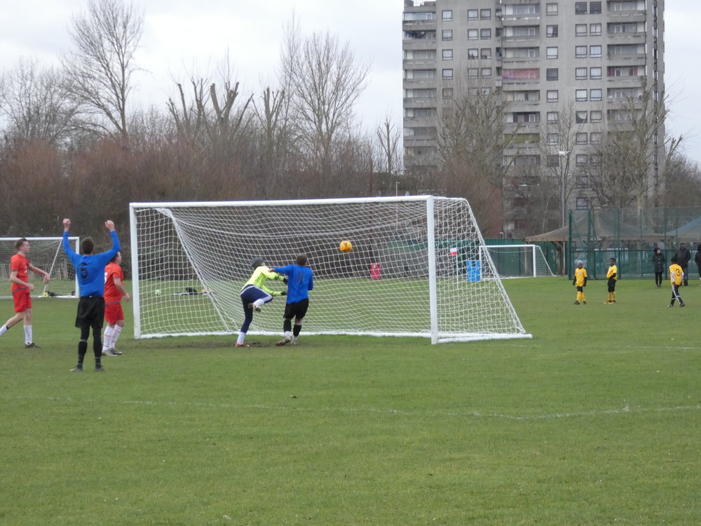 South East Lads number 11 heads his team into a 2-0 lead. (C) D Hooker
