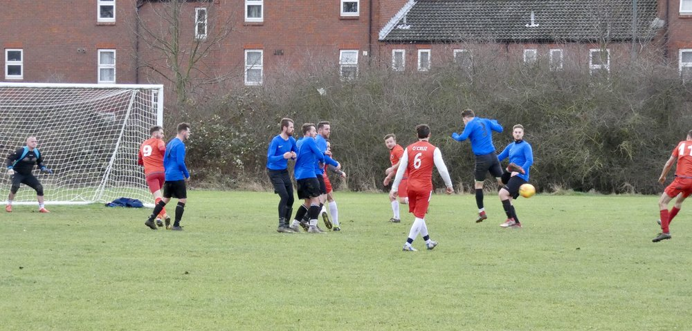 Woolwich Spartans 11 Nicholas Joel (far right) fires in to bring the score back to 2-1 against South East Lads