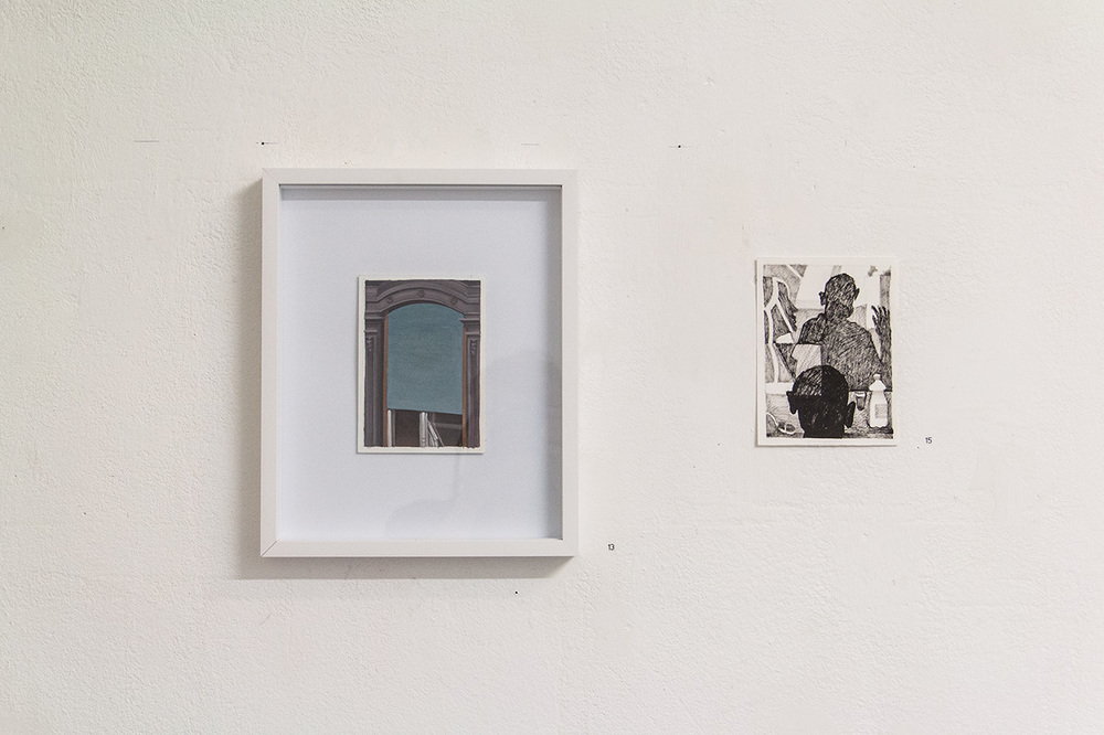 "L ""vormittag"" - 10,5 x 14,8 cm, oil on paper framed, 2015 R ""boring"" - 12 x 16 cm, ink on paper, 2015"