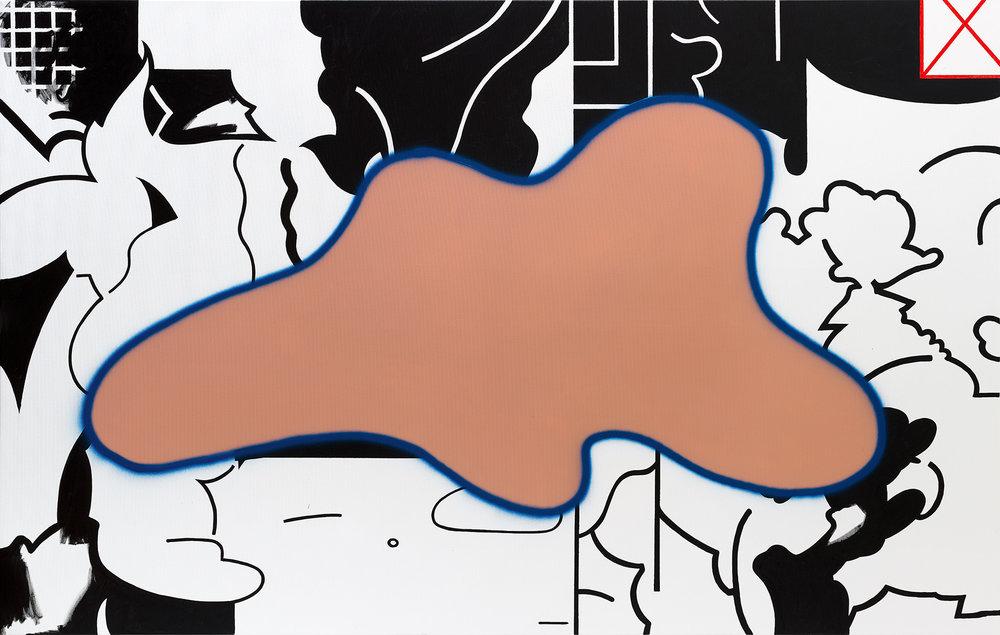 """oil slick"" 2016 mixed media on canvas, 139x219 cm"
