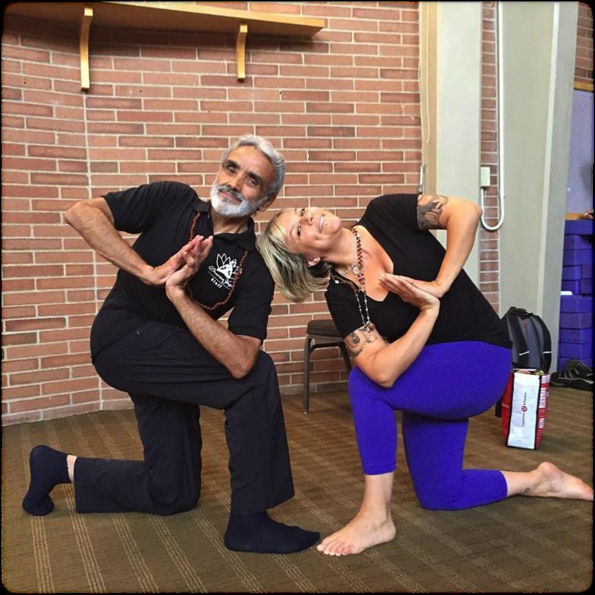 Dharma Yoga Syracuse founder Saraswati Om and her Guru, Sri Dharma Mittra