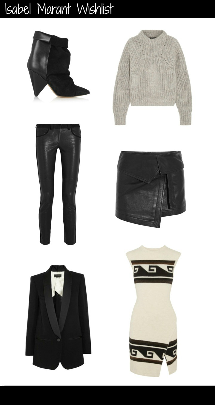 Isabel Marant Wishlist: Andrew suede and leather ankle boots; Newt oversized mélange ribbed-knit sweater; Hutt leather wrap mini skirt; Sandy wrap-effect knitted mini dress; Lahore satin-trimmed wool-blend canvas blazer;Dana suede-trimmed stretch-leather skinny pants. All available from Net A Porter.