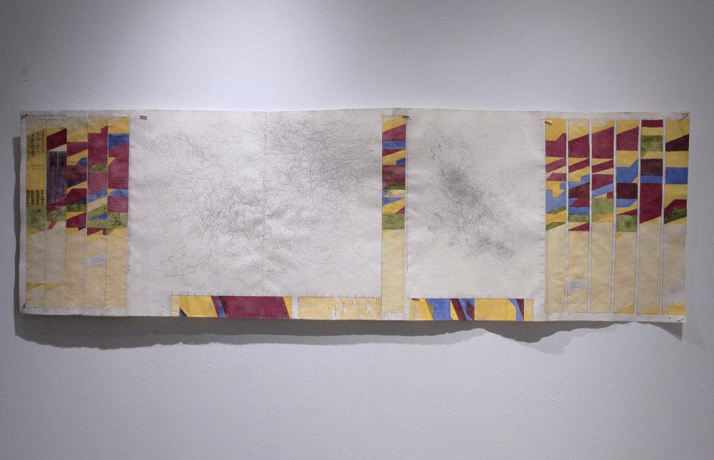 時間研究:二月十七日到三月十四日,二零一零年,墨西哥  Time Study:Feb 17th - March 14th , 2010, Mexico    38.5 x 126cm /15.2 x 50inches  水粉、水彩、鉛筆與紙張/Gouache, watercolor, and graphite on paper