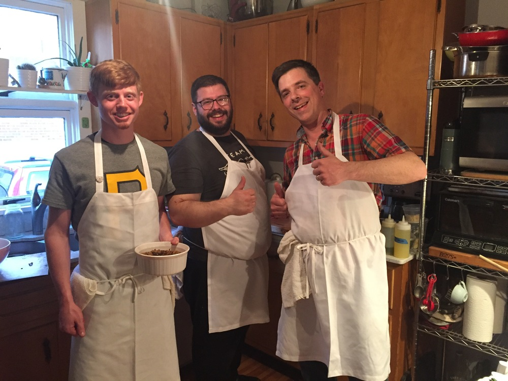 Matt, and Chefs Tom and Trevett in the kitchen.