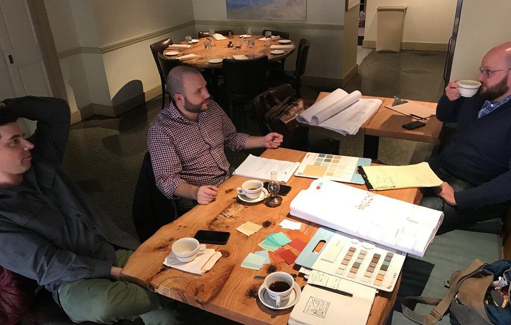 This is Trevett, Will the Architect, and Alex the Manager. These meetings were some of my favorites because they were all about coffee and talking colors, finishes, fabrics, etc.