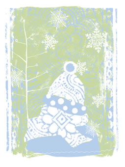 Girl in Snow - greeting card