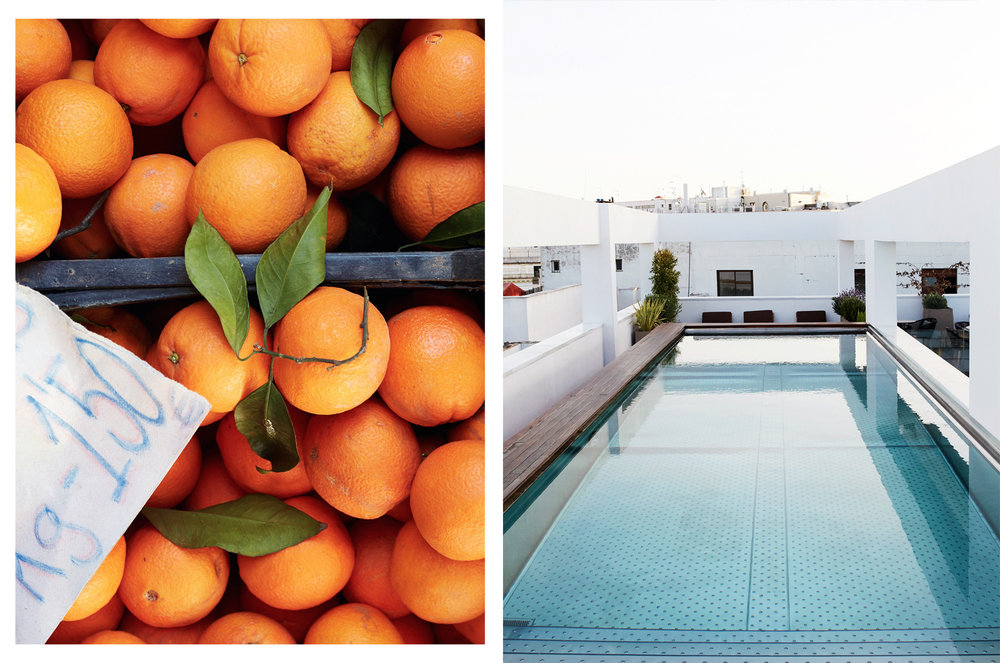 Sevillan naranjas, serene rooftop swimming pools