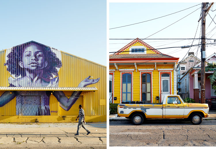 The exterior of StudioBE; colorful Marigny Bywater housefronts