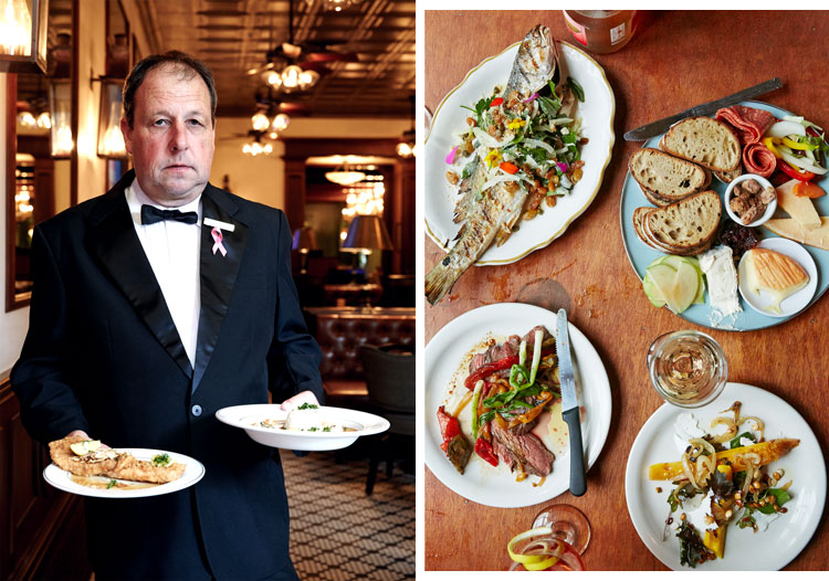 A waiter at Galatoire's; a meal spread at Bacchanal, a wine bar in the Bywater neighborhood