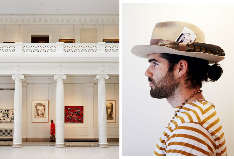 A visitor at New Orleans Museum of Art; Colby Hebert, a Cajun hatmaker, whose shop is on Magazine Street