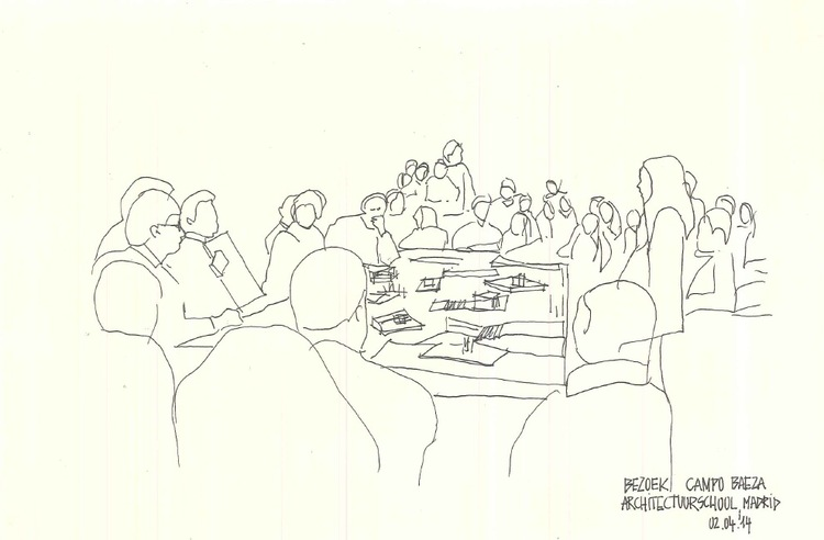 Bezoek ETSAM (jury in studio Alberto CAMPO BAEZA) - schets Marie Moors