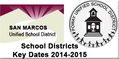 ACE Tutoring - School Districts Key Dates 2014 - 2015