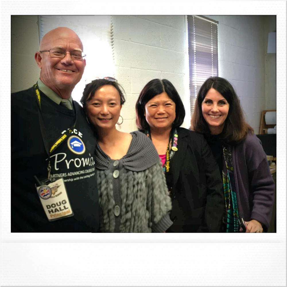 Doug Hall (Principal of SEMS), Anh Eggers (ACE Tutoring), and Golden Ribbon Validation Team