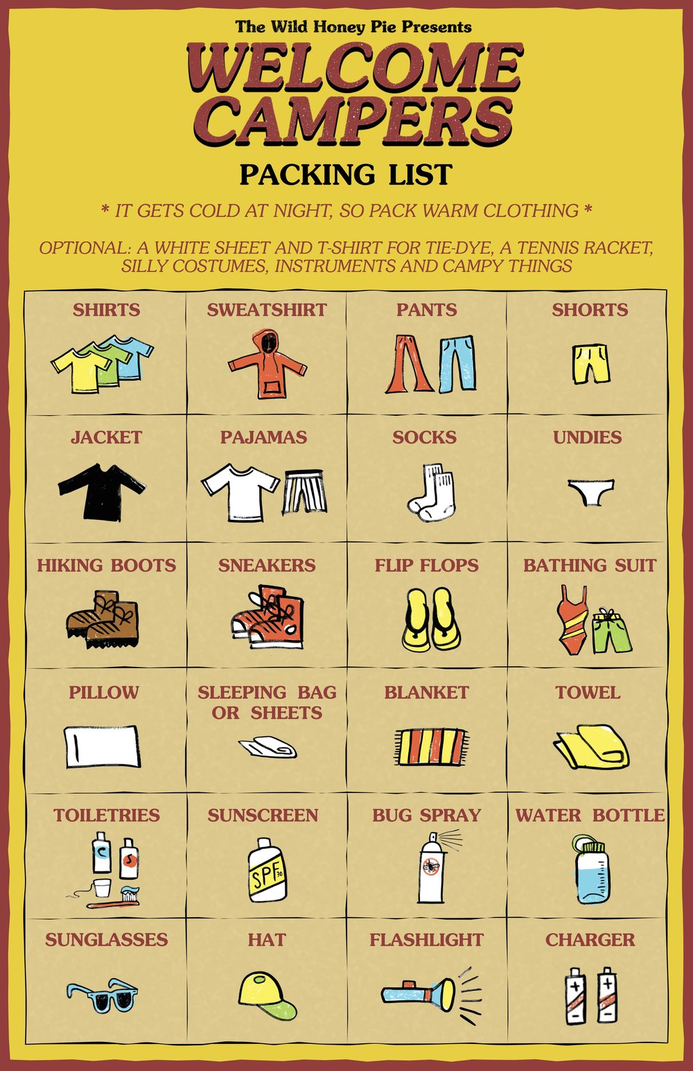 Packing List Welcome Campers – Packing List