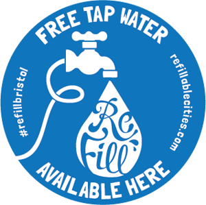 Look out for THE #refillbristol window stickers in venues across the city!