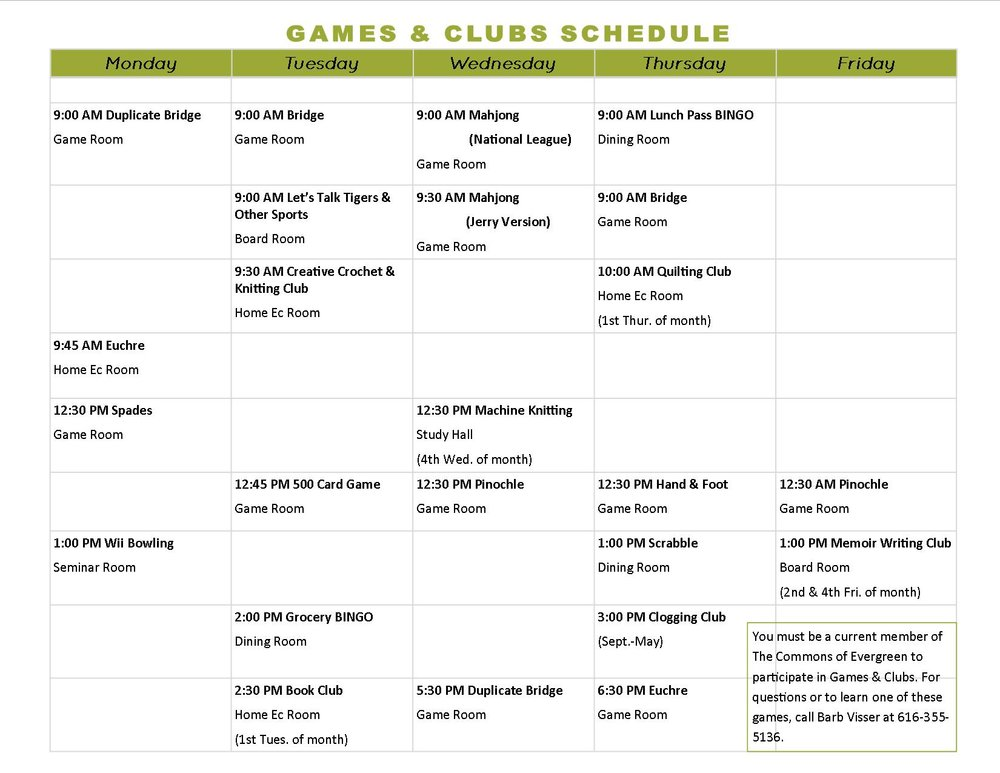 Click schedule to enlarge, or download a version of our games & clubs schedule here (PDF Download)