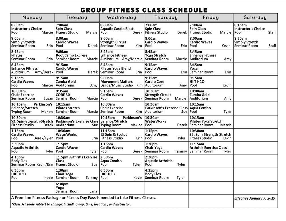 Click schedule to enlarge, or download a version of our group fitness class schedule here ( PDF Download )