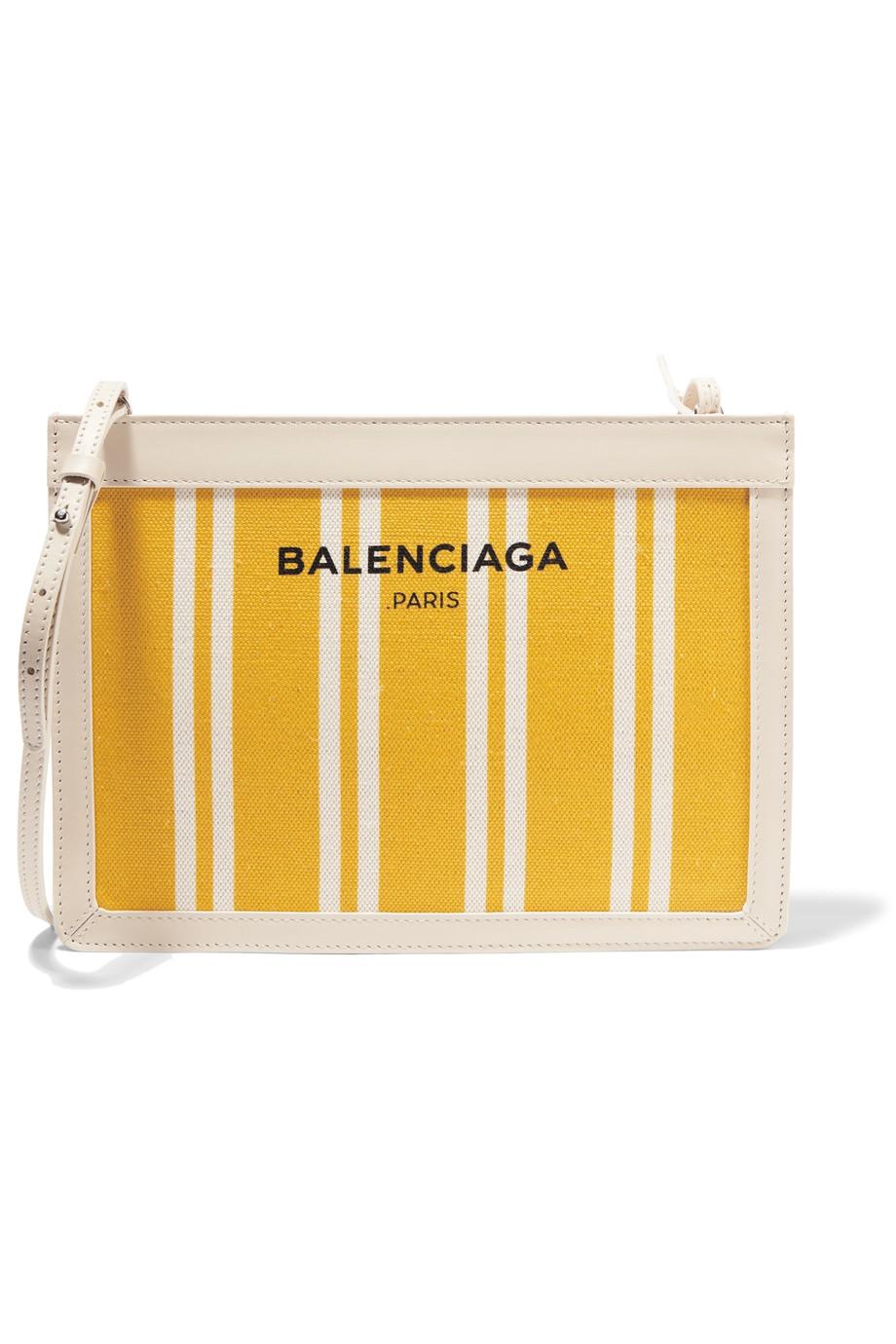 Balenciaga  Leather-Trimmed Striped Canvas Bag  ($755)