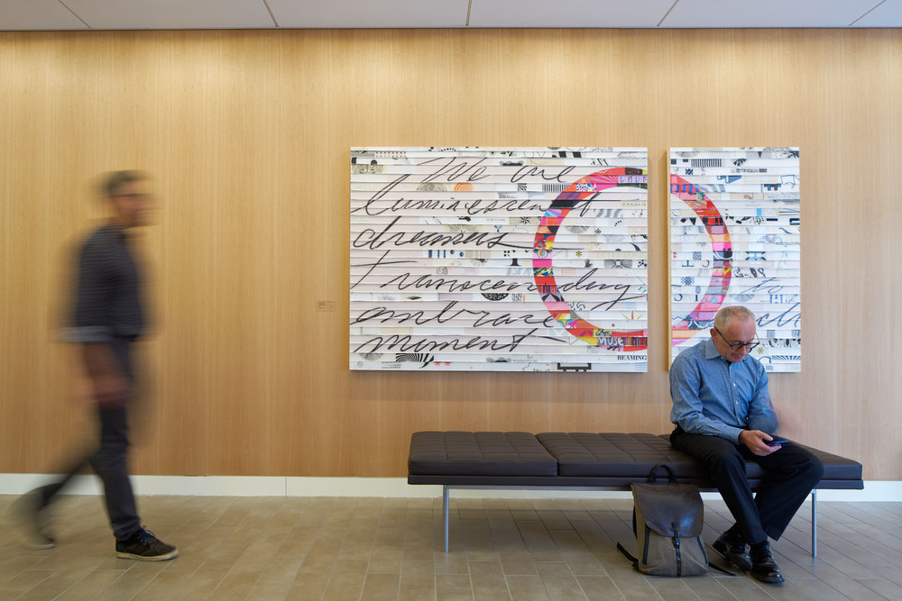 'Citta Samtana Le Moment Diptych 5' as installed at the Stanford Medical Center, Neurological Sciences Clinic.