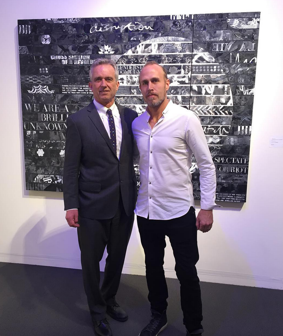Robert Kennedy Jr. + James Verbicky with the 'Bhavanga' original artwork donated in support of the Waterkeeper Alliance. (New York City, 2017)