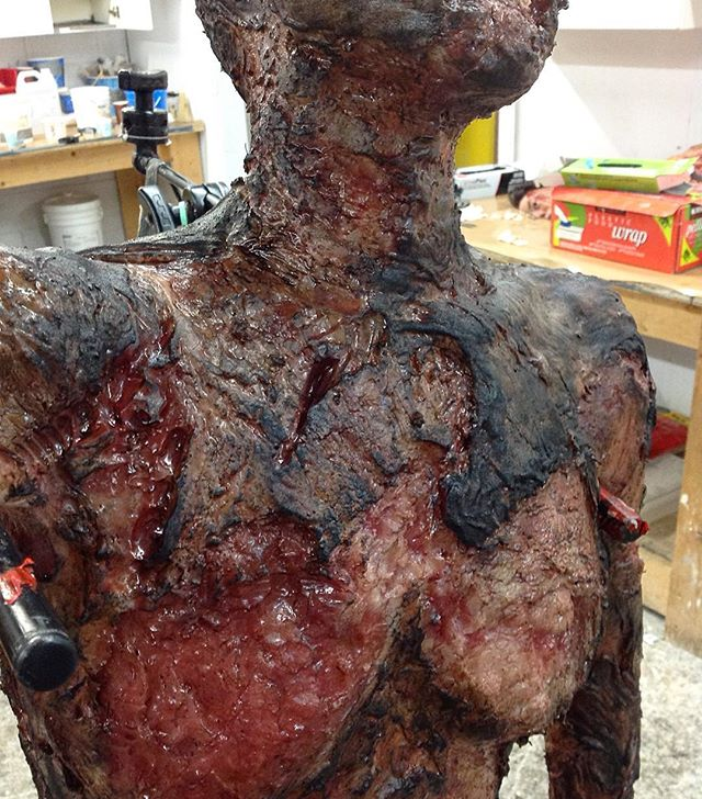 The final look of #shiva on the episode ended up being much less meaty and a lot more black and #charred. #censored #shiva #nonipples #gore #burn #makeupfx #siliconefabrication #hanninalseason2 #konomono
