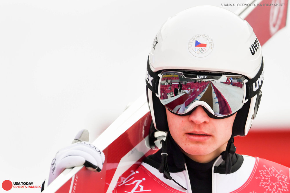 Feb 19, 2018; Pyeongchang, South Korea; Ondrej Pazout (CZE) reacts after a training session. Mandatory Credit: Shanna Lockwood-USA TODAY Sports