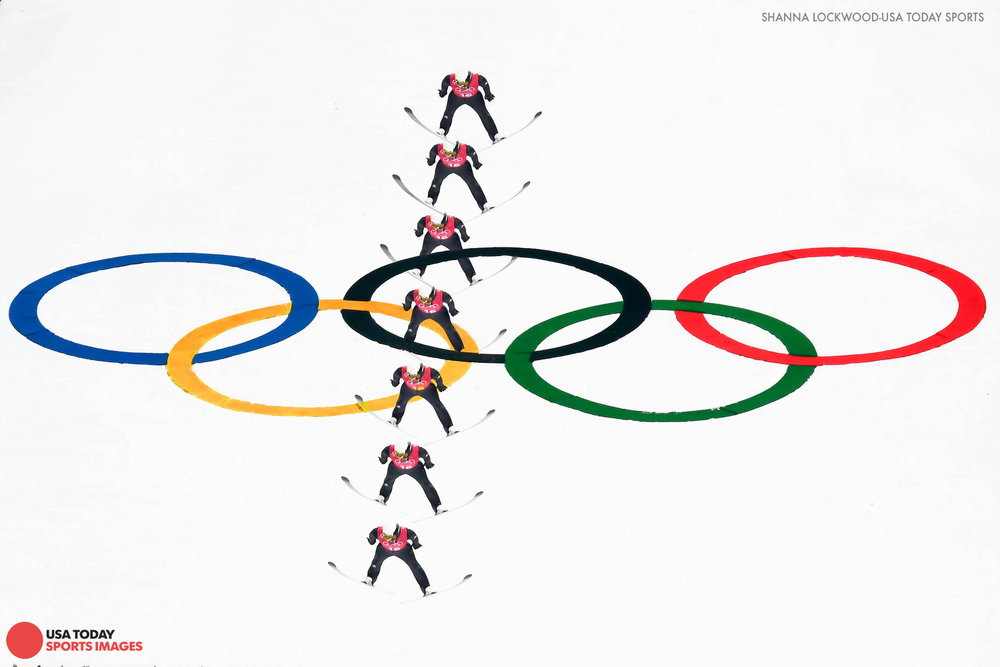 Feb 19, 2018; Pyeongchang, South Korea; Multiple exposure of Jason Lamy Chappuis (FRA) jumping in nordic combined training. Mandatory Credit: Shanna Lockwood-USA TODAY Sports