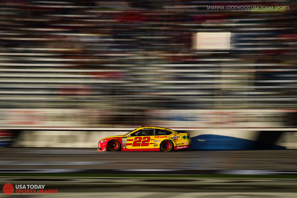 Mar 3, 2017; Hampton, GA, USA; NASCAR Cup Series driver Joey Logano (22) drives Atlanta Motor Speedway. Mandatory Credit: Shanna Lockwood-USA TODAY Sports