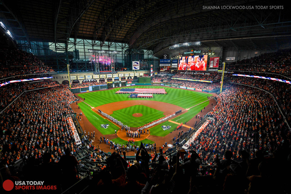Oct 13, 2017; Houston, TX, USA; Overall view before a 2017 ALCS game at Minute Maid Park. Mandatory Credit: Shanna Lockwood-USA TODAY Sports